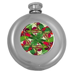 Floral Print Colorful Pattern Hip Flask (round) by dflcprints