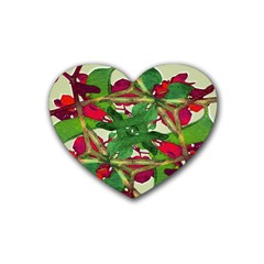 Floral Print Colorful Pattern Drink Coasters (heart) by dflcprints
