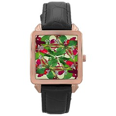 Floral Print Colorful Pattern Rose Gold Leather Watch  by dflcprints