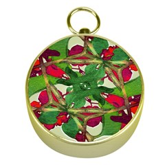 Floral Print Colorful Pattern Gold Compass by dflcprints