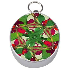 Floral Print Colorful Pattern Silver Compass by dflcprints