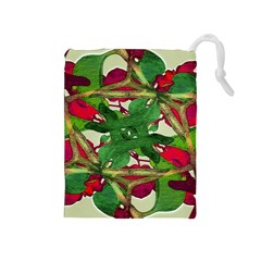 Floral Print Colorful Pattern Drawstring Pouch (medium) by dflcprints