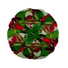 Floral Print Colorful Pattern 15  Premium Flano Round Cushion