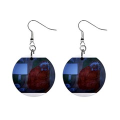 Neanderthal At Night Mini Button Earrings by creationtruth