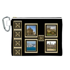 My Black And Gold Canvas Cosmetic Bag (large) By Deborah   Canvas Cosmetic Bag (large)   Ms49itzae7k0   Www Artscow Com Front