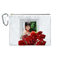 Framed With Roses Canvas Cosmetic Bag (large) By Deborah   Canvas Cosmetic Bag (large)   It4bcy6w2d8i   Www Artscow Com Front