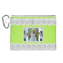 Lime And Lace Canvas Cosmetic Bag (large) By Deborah   Canvas Cosmetic Bag (large)   49hobtredu0f   Www Artscow Com Front