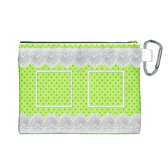 Lime And Lace Canvas Cosmetic Bag (large) By Deborah   Canvas Cosmetic Bag (large)   49hobtredu0f   Www Artscow Com Back