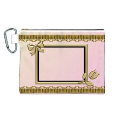 Princess Pink Canvas Cosmetic Bag (large) By Deborah   Canvas Cosmetic Bag (large)   34m0sodsxsgj   Www Artscow Com Front