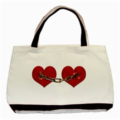 Unbreakable Love Concept Twin Sided Black Tote Bag by dflcprints