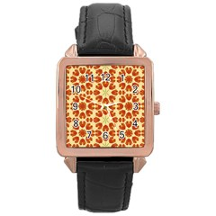 Colorful Floral Print Vector Style Rose Gold Leather Watch  by dflcprints