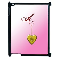 A Golden Rose Heart Locket Apple Ipad 2 Case (black) by cherestreasures