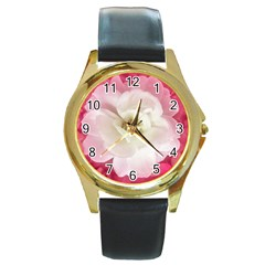 White Rose With Pink Leaves Around  Round Leather Watch (gold Rim)  by dflcprints
