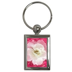 White Rose With Pink Leaves Around  Key Chain (rectangle) by dflcprints
