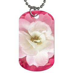 White Rose With Pink Leaves Around  Dog Tag (two Sided)  by dflcprints