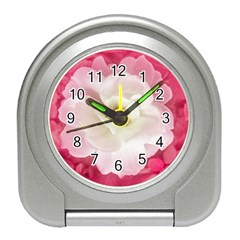 White Rose With Pink Leaves Around  Desk Alarm Clock by dflcprints