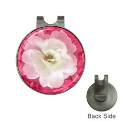White Rose With Pink Leaves Around  Hat Clip With Golf Ball Marker by dflcprints