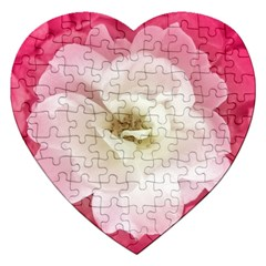 White Rose With Pink Leaves Around  Jigsaw Puzzle (heart) by dflcprints