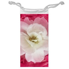 White Rose With Pink Leaves Around  Jewelry Bag