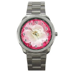 White Rose With Pink Leaves Around  Sport Metal Watch by dflcprints