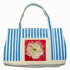 White Rose With Pink Leaves Around  Blue Striped Tote Bag by dflcprints