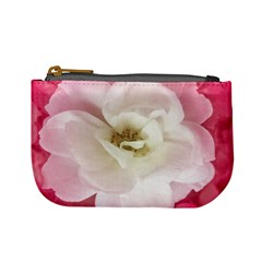 White Rose With Pink Leaves Around  Coin Change Purse by dflcprints