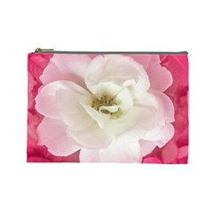 White Rose With Pink Leaves Around  Cosmetic Bag (large) by dflcprints