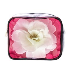 White Rose With Pink Leaves Around  Mini Travel Toiletry Bag (one Side) by dflcprints