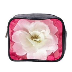 White Rose With Pink Leaves Around  Mini Travel Toiletry Bag (two Sides) by dflcprints