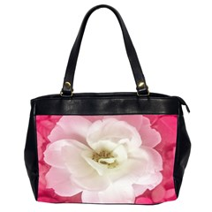 White Rose With Pink Leaves Around  Oversize Office Handbag (two Sides) by dflcprints