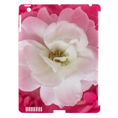White Rose With Pink Leaves Around  Apple Ipad 3/4 Hardshell Case (compatible With Smart Cover)