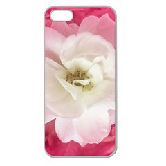 White Rose With Pink Leaves Around  Apple Seamless Iphone 5 Case (clear) by dflcprints