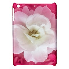 White Rose With Pink Leaves Around  Apple Ipad Mini Hardshell Case by dflcprints