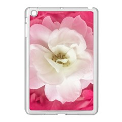 White Rose With Pink Leaves Around  Apple Ipad Mini Case (white) by dflcprints