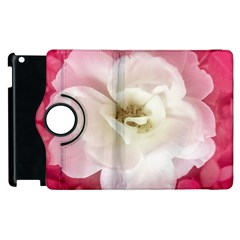 White Rose With Pink Leaves Around  Apple Ipad 3/4 Flip 360 Case by dflcprints