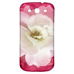 White Rose With Pink Leaves Around  Samsung Galaxy S3 S Iii Classic Hardshell Back Case by dflcprints