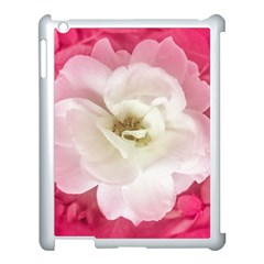 White Rose With Pink Leaves Around  Apple Ipad 3/4 Case (white) by dflcprints