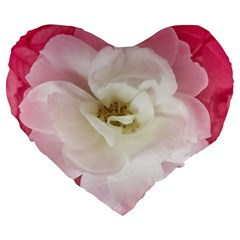 White Rose With Pink Leaves Around  19  Premium Heart Shape Cushion by dflcprints