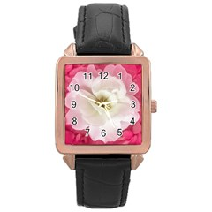 White Rose With Pink Leaves Around  Rose Gold Leather Watch  by dflcprints