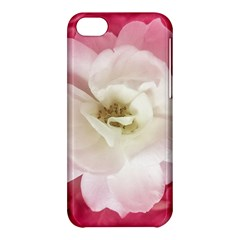 White Rose With Pink Leaves Around  Apple Iphone 5c Hardshell Case by dflcprints