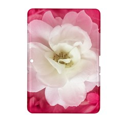 White Rose With Pink Leaves Around  Samsung Galaxy Tab 2 (10 1 ) P5100 Hardshell Case  by dflcprints