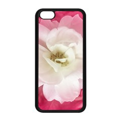 White Rose With Pink Leaves Around  Apple Iphone 5c Seamless Case (black) by dflcprints