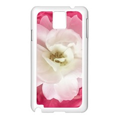 White Rose With Pink Leaves Around  Samsung Galaxy Note 3 N9005 Case (white) by dflcprints