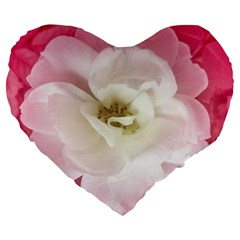 White Rose With Pink Leaves Around  19  Premium Flano Heart Shape Cushion by dflcprints