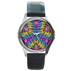Crazy Zebra Print  Round Leather Watch (silver Rim) by OCDesignss