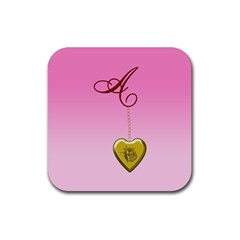 A Golden Rose Heart Locket Rubber Square Coaster (4 Pack) by cherestreasures