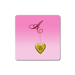 A Golden Rose Heart Locket Magnet (square) by cherestreasures