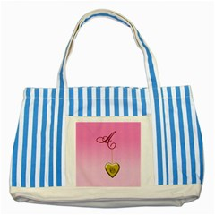 A Golden Rose Heart Locket Striped Blue Tote Bag by cherestreasures