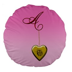 A Golden Rose Heart Locket 18  Premium Round Cushion  by cherestreasures