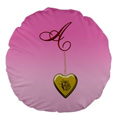 A Golden Rose Heart Locket 18  Premium Flano Round Cushion  by cherestreasures